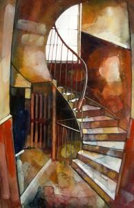 An Ochre Spiral Stairs