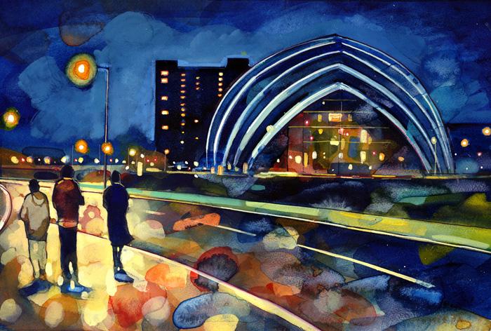 Lights On The Glasgow Armadillo